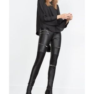 Zara Faux Leather Moto Pants Size Medium